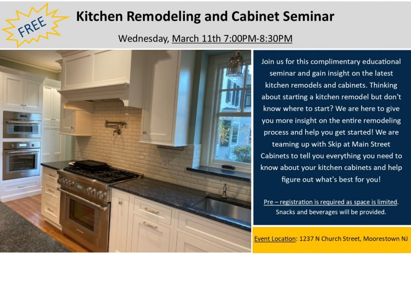 Kitchen remodeling and Cabinet Seminar flyer